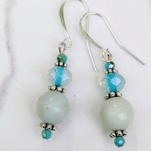 Jewelry - Aqua blue Agate and Crystal earrings
